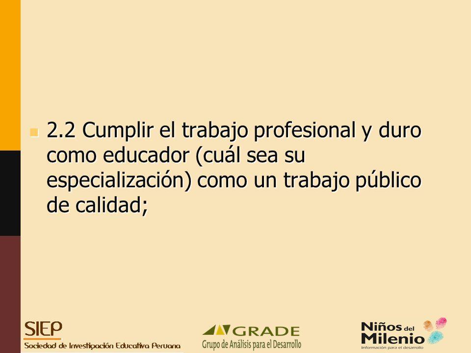 2.2 Cumplir el trabajo profesional y duro como educador (cuál sea su especialización) como un trabajo público de calidad; 2.2 Cumplir el trabajo profesional y duro como educador (cuál sea su especialización) como un trabajo público de calidad;