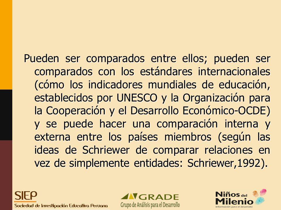 Pueden ser comparados entre ellos; pueden ser comparados con los estándares internacionales (cómo los indicadores mundiales de educación, establecidos por UNESCO y la Organización para la Cooperación y el Desarrollo Económico-OCDE) y se puede hacer una comparación interna y externa entre los países miembros (según las ideas de Schriewer de comparar relaciones en vez de simplemente entidades: Schriewer,1992).