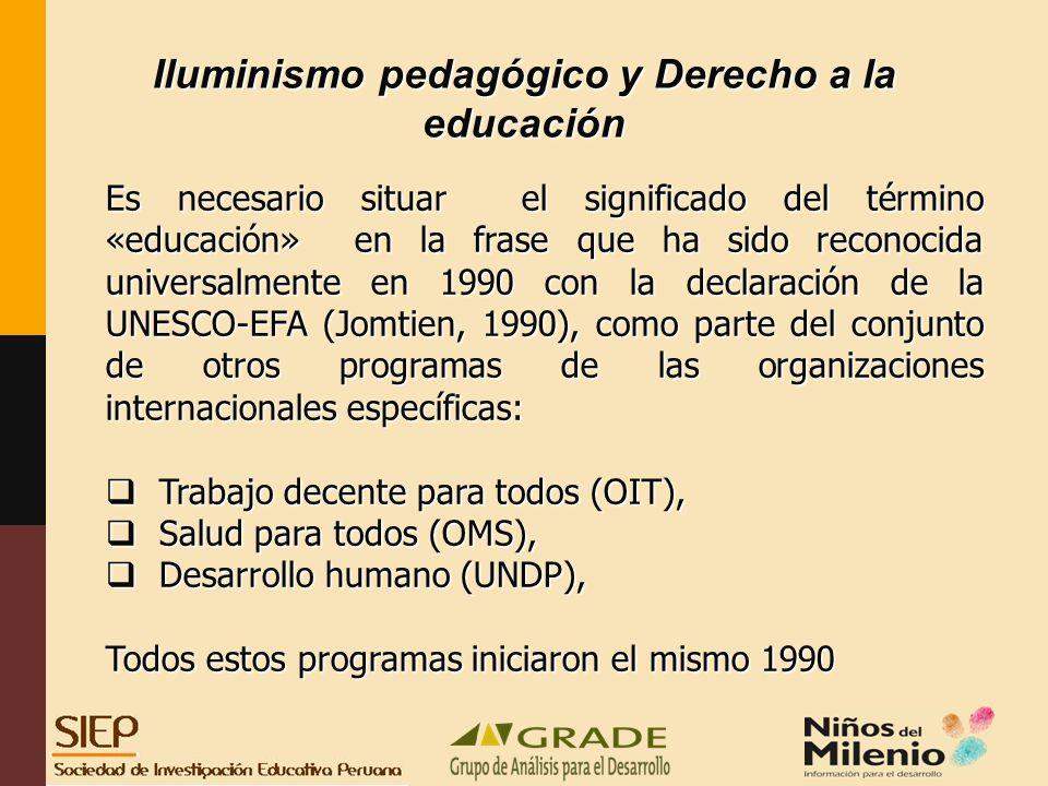 Iluminismo pedagógico y Derecho a la educación Es necesario situar el significado del término «educación» en la frase que ha sido reconocida universalmente en 1990 con la declaración de la UNESCO-EFA (Jomtien, 1990), como parte del conjunto de otros programas de las organizaciones internacionales específicas: Trabajo decente para todos (OIT), Trabajo decente para todos (OIT), Salud para todos (OMS), Salud para todos (OMS), Desarrollo humano (UNDP), Desarrollo humano (UNDP), Todos estos programas iniciaron el mismo 1990