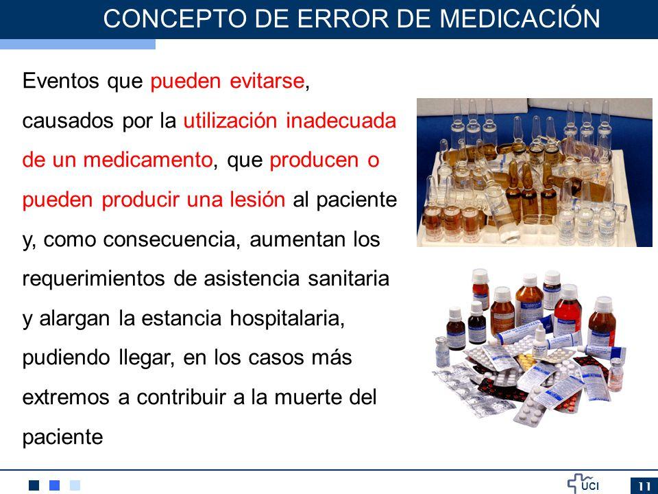 UCI 11 CONCEPTO DE ERROR DE MEDICACIÓN Eventos que pueden evitarse, causados por la utilización inadecuada de un medicamento, que producen o pueden pr