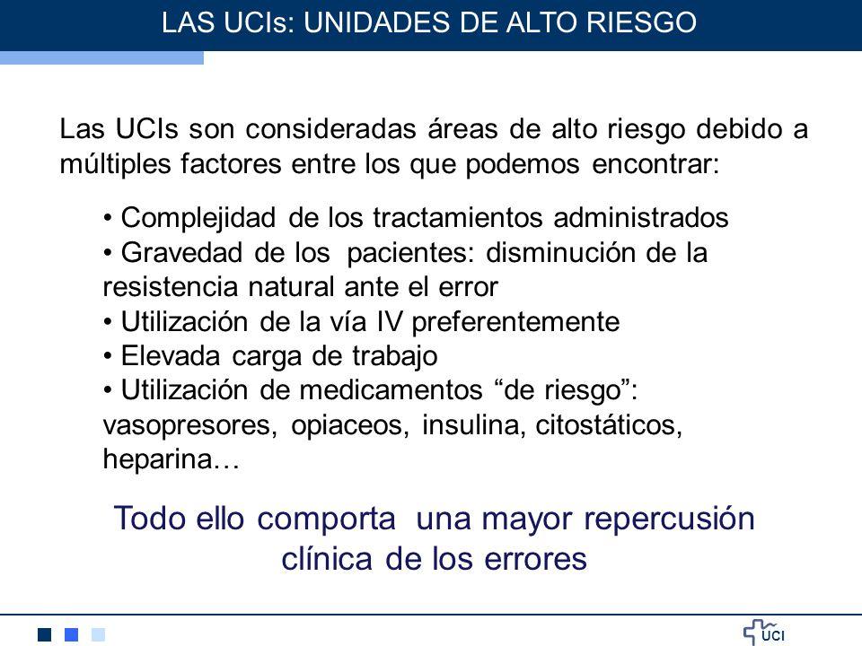 UCI Las UCIs son consideradas áreas de alto riesgo debido a múltiples factores entre los que podemos encontrar: Complejidad de los tractamientos admin