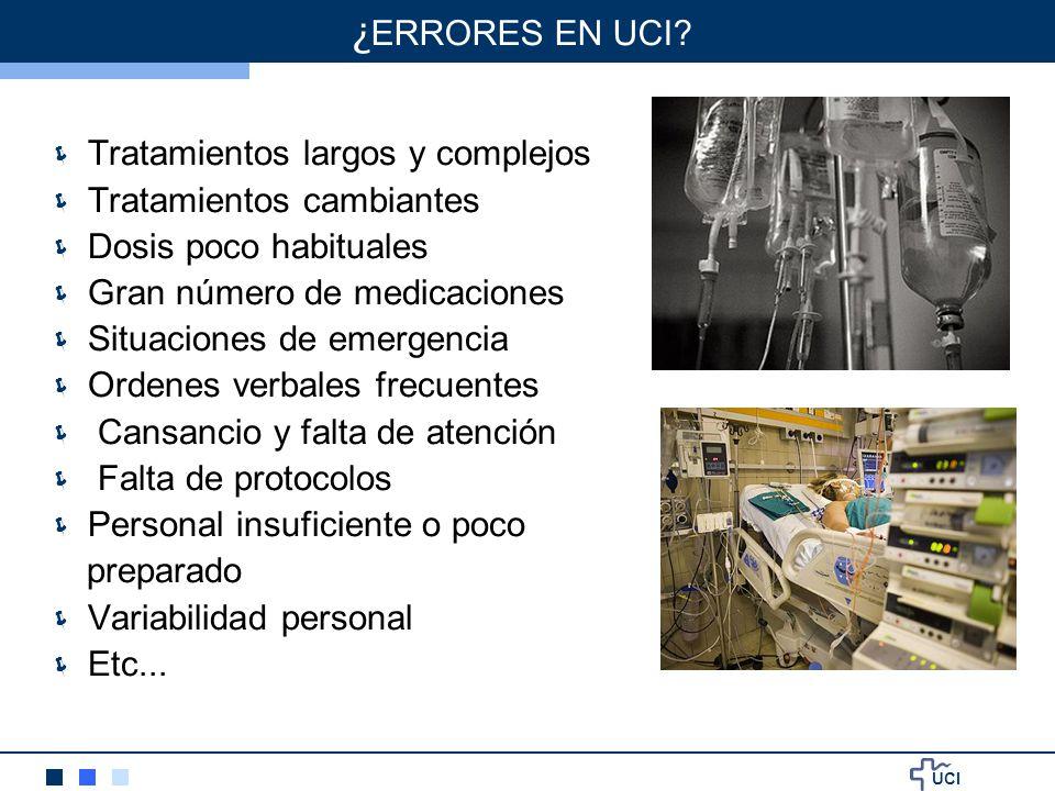UCI Tratamientos largos y complejos Tratamientos cambiantes Dosis poco habituales Gran número de medicaciones Situaciones de emergencia Ordenes verbal
