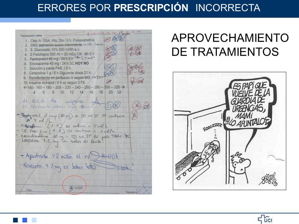 UCI APROVECHAMIENTO DE TRATAMIENTOS ERRORES POR PRESCRIPCIÓN INCORRECTA