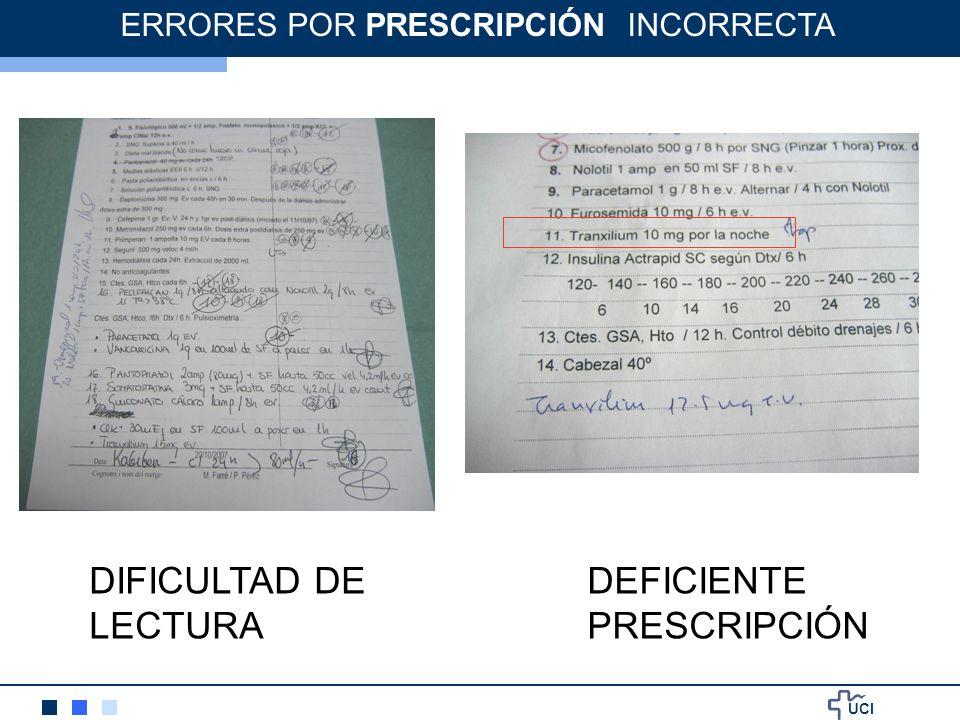 UCI DIFICULTAD DE LECTURA ERRORES POR PRESCRIPCIÓN INCORRECTA DEFICIENTE PRESCRIPCIÓN