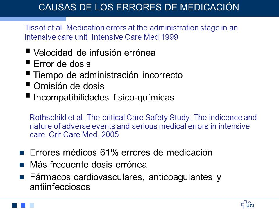 UCI CAUSAS DE LOS ERRORES DE MEDICACIÓN Rothschild et al. The critical Care Safety Study: The indicence and nature of adverse events and serious medic