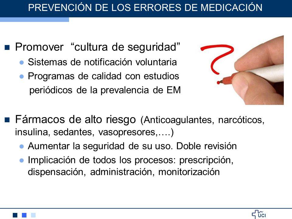 UCI PREVENCIÓN DE LOS ERRORES DE MEDICACIÓN Promover cultura de seguridad Sistemas de notificación voluntaria Programas de calidad con estudios periód