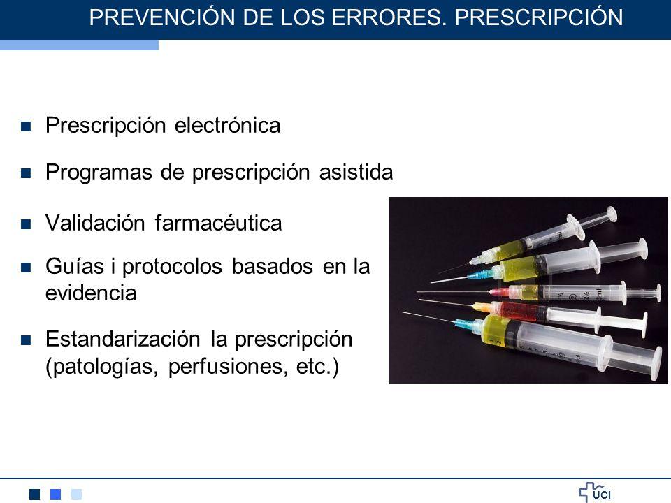 UCI PREVENCIÓN DE LOS ERRORES. PRESCRIPCIÓN Prescripción electrónica Programas de prescripción asistida Validación farmacéutica Guías i protocolos bas