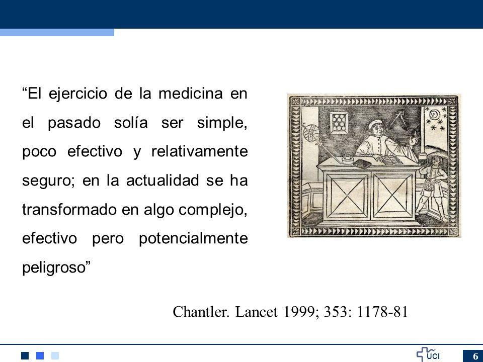 UCI 6 El ejercicio de la medicina en el pasado solía ser simple, poco efectivo y relativamente seguro; en la actualidad se ha transformado en algo com
