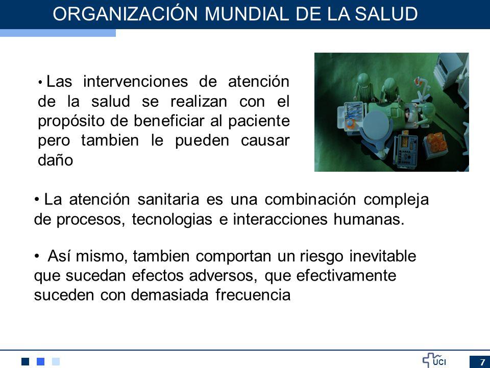 UCI 7 ORGANIZACIÓN MUNDIAL DE LA SALUD Las intervenciones de atención de la salud se realizan con el propósito de beneficiar al paciente pero tambien