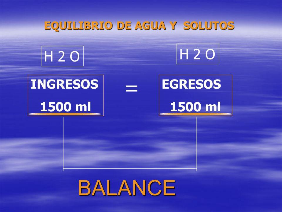 BALANCE INGRESOS 1500 ml EGRESOS 1500 ml H 2 O = EQUILIBRIO DE AGUA Y SOLUTOS