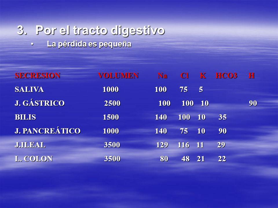 3.Por el tracto digestivo La pérdida es pequeñaLa pérdida es pequeña SECRESION VOLUMEN Na Cl K HCO3 H SALIVA 1000 100 75 5 J. GÁSTRICO 2500 100 100 10