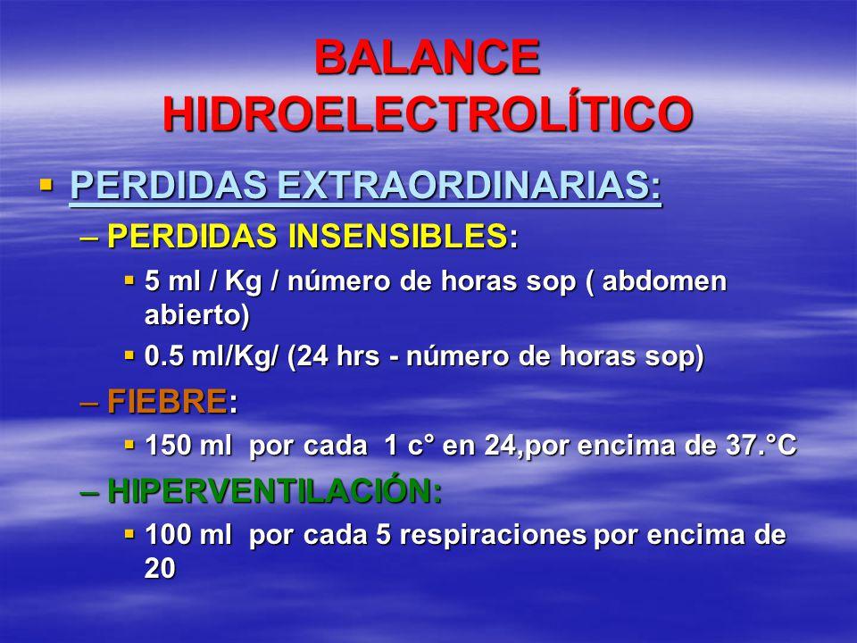 BALANCE HIDROELECTROLÍTICO PERDIDAS EXTRAORDINARIAS: PERDIDAS EXTRAORDINARIAS: –PERDIDAS INSENSIBLES: 5 ml / Kg / número de horas sop ( abdomen abiert
