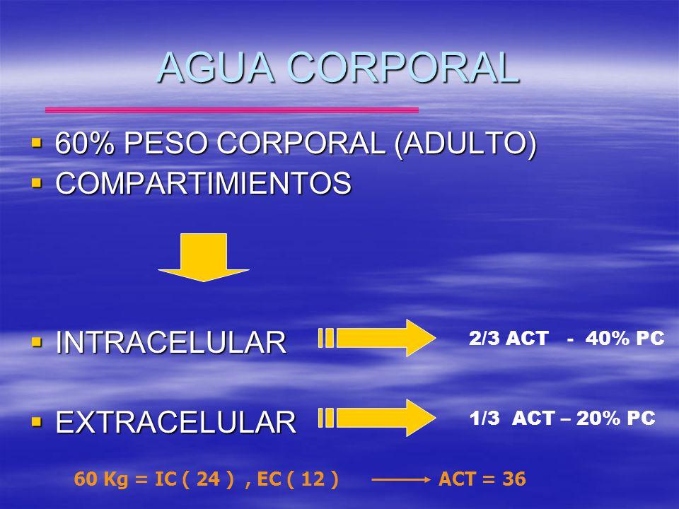 AGUA CORPORAL 60% PESO CORPORAL (ADULTO) 60% PESO CORPORAL (ADULTO) COMPARTIMIENTOS COMPARTIMIENTOS INTRACELULAR INTRACELULAR EXTRACELULAR EXTRACELULA