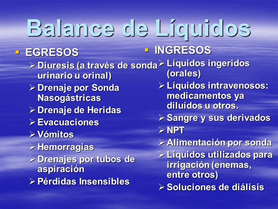 Balance de Líquidos EGRESOS EGRESOS Diuresis (a través de sonda urinario u orinal) Diuresis (a través de sonda urinario u orinal) Drenaje por Sonda Na