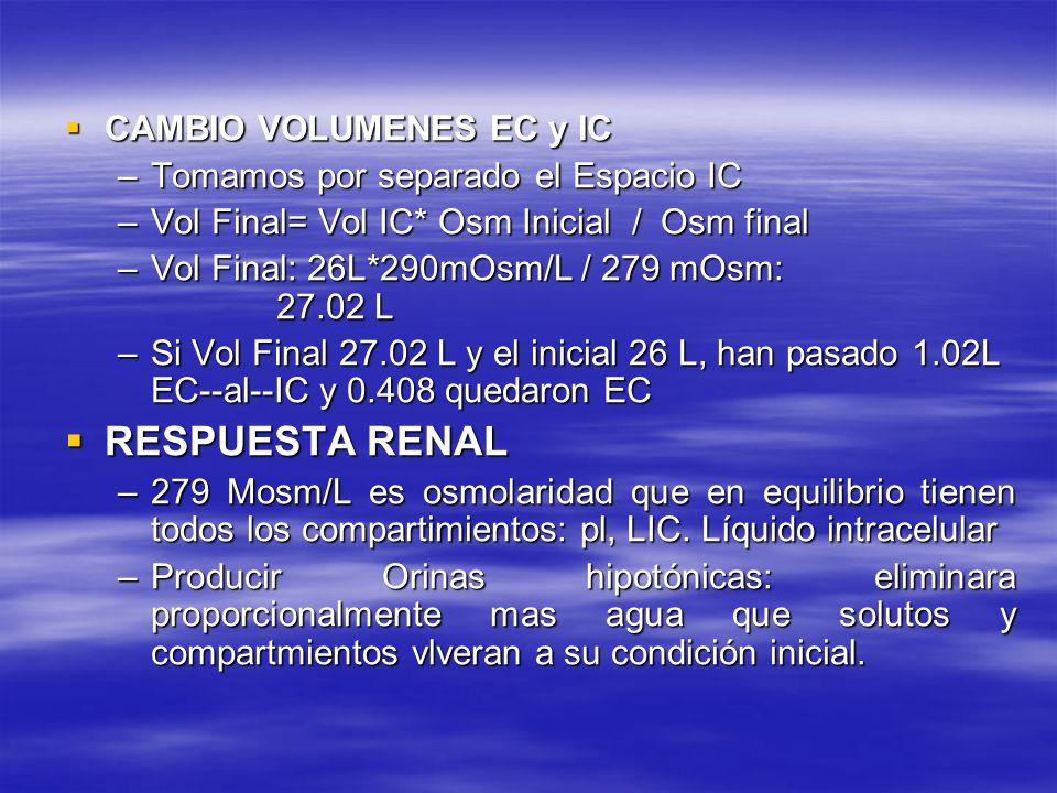 CAMBIO VOLUMENES EC y IC CAMBIO VOLUMENES EC y IC –Tomamos por separado el Espacio IC –Vol Final= Vol IC* Osm Inicial / Osm final –Vol Final: 26L*290m