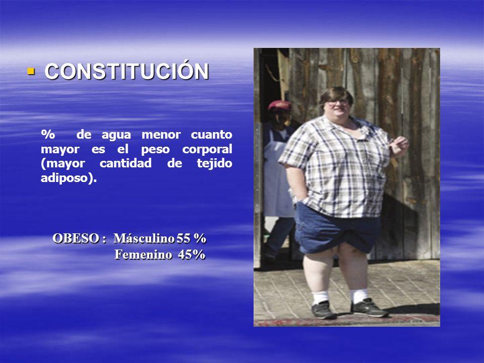 CONSTITUCIÓN CONSTITUCIÓN % de agua menor cuanto mayor es el peso corporal (mayor cantidad de tejido adiposo). OBESO : Másculino 55 % Femenino 45%