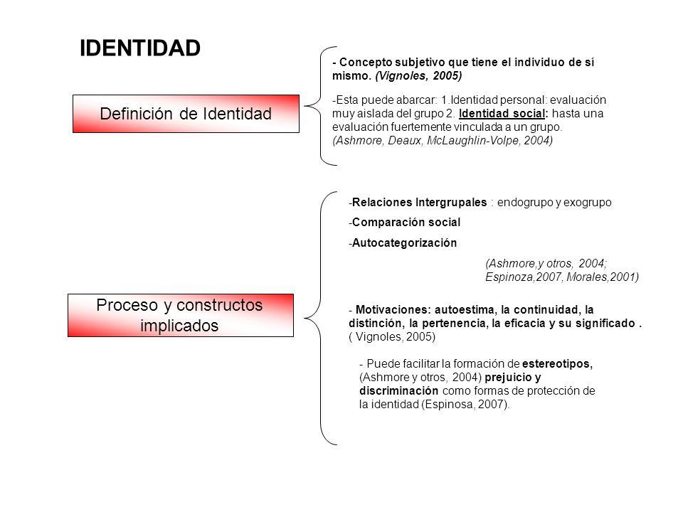 Definición de Identidad - Concepto subjetivo que tiene el individuo de sí mismo. (Vignoles, 2005) IDENTIDAD -Esta puede abarcar: 1.Identidad personal: