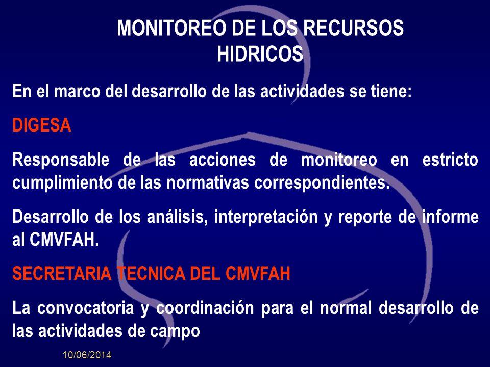 10/06/2014 MONITOREO DE LOS RECURSOS HIDRICOS En el marco del desarrollo de las actividades se tiene: DIGESA Responsable de las acciones de monitoreo en estricto cumplimiento de las normativas correspondientes.