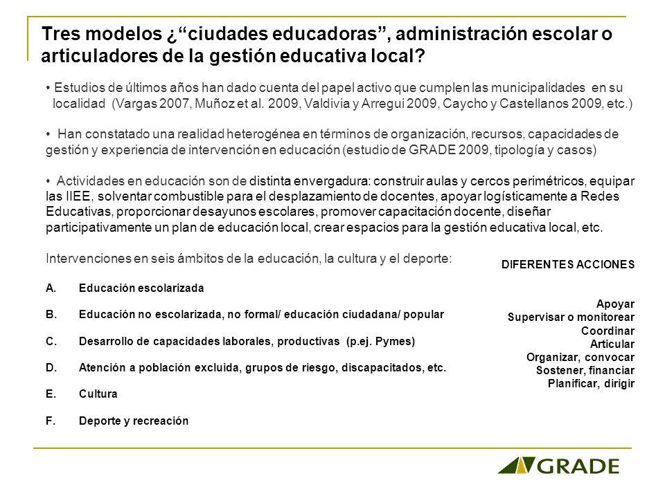 Tres modelos ¿ciudades educadoras, administración escolar o articuladores de la gestión educativa local.