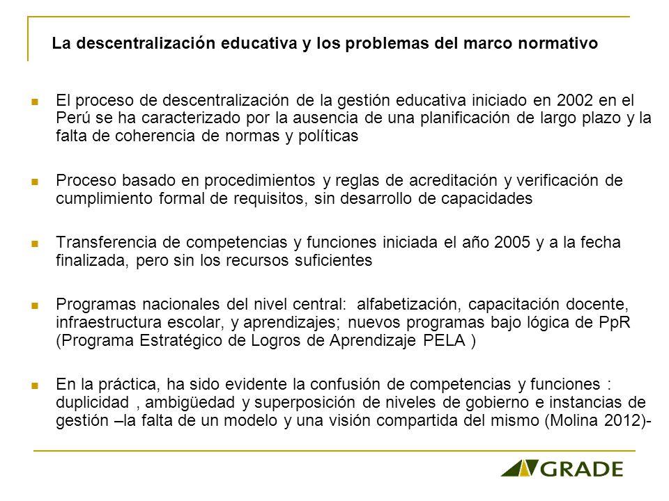 El proceso de descentralización de la gestión educativa iniciado en 2002 en el Perú se ha caracterizado por la ausencia de una planificación de largo plazo y la falta de coherencia de normas y políticas Proceso basado en procedimientos y reglas de acreditación y verificación de cumplimiento formal de requisitos, sin desarrollo de capacidades Transferencia de competencias y funciones iniciada el año 2005 y a la fecha finalizada, pero sin los recursos suficientes Programas nacionales del nivel central: alfabetización, capacitación docente, infraestructura escolar, y aprendizajes; nuevos programas bajo lógica de PpR (Programa Estratégico de Logros de Aprendizaje PELA ) En la práctica, ha sido evidente la confusión de competencias y funciones : duplicidad, ambigüedad y superposición de niveles de gobierno e instancias de gestión –la falta de un modelo y una visión compartida del mismo (Molina 2012)- La descentralización educativa y los problemas del marco normativo