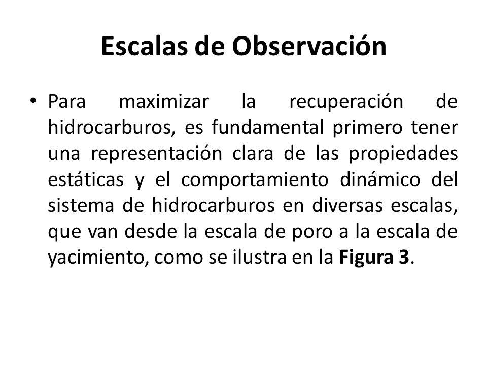 Escalas de Observación Para maximizar la recuperación de hidrocarburos, es fundamental primero tener una representación clara de las propiedades estát