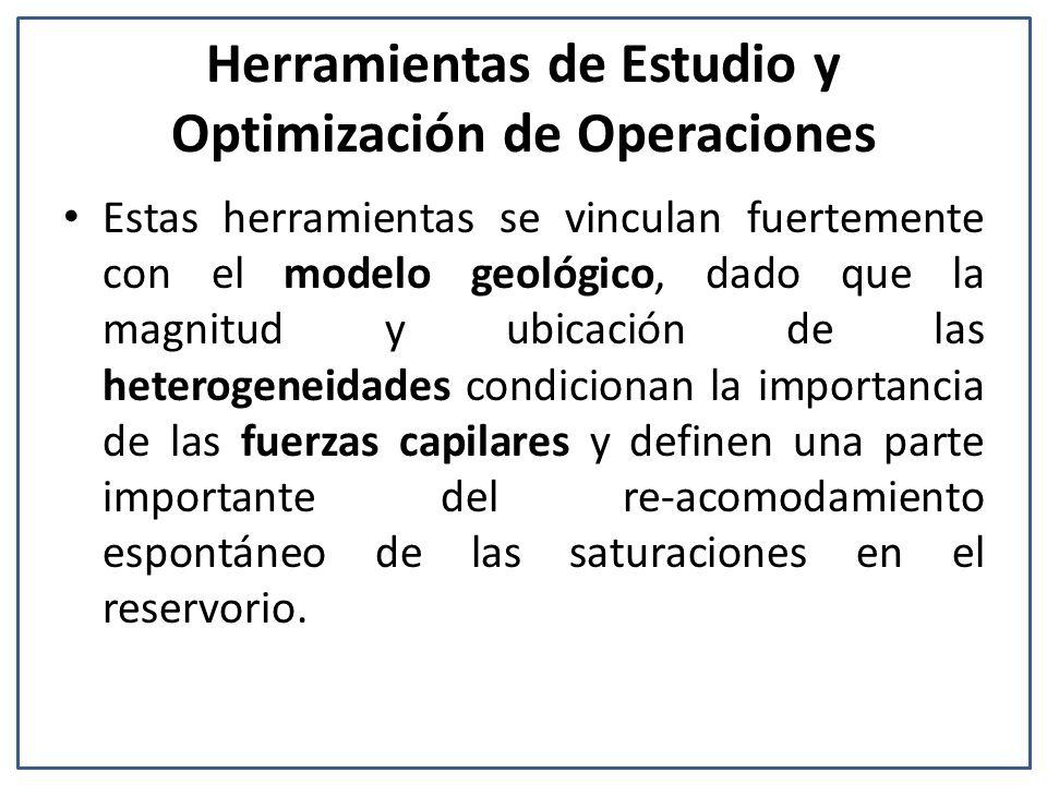 Herramientas de Estudio y Optimización de Operaciones Estas herramientas se vinculan fuertemente con el modelo geológico, dado que la magnitud y ubicación de las heterogeneidades condicionan la importancia de las fuerzas capilares y definen una parte importante del re-acomodamiento espontáneo de las saturaciones en el reservorio.