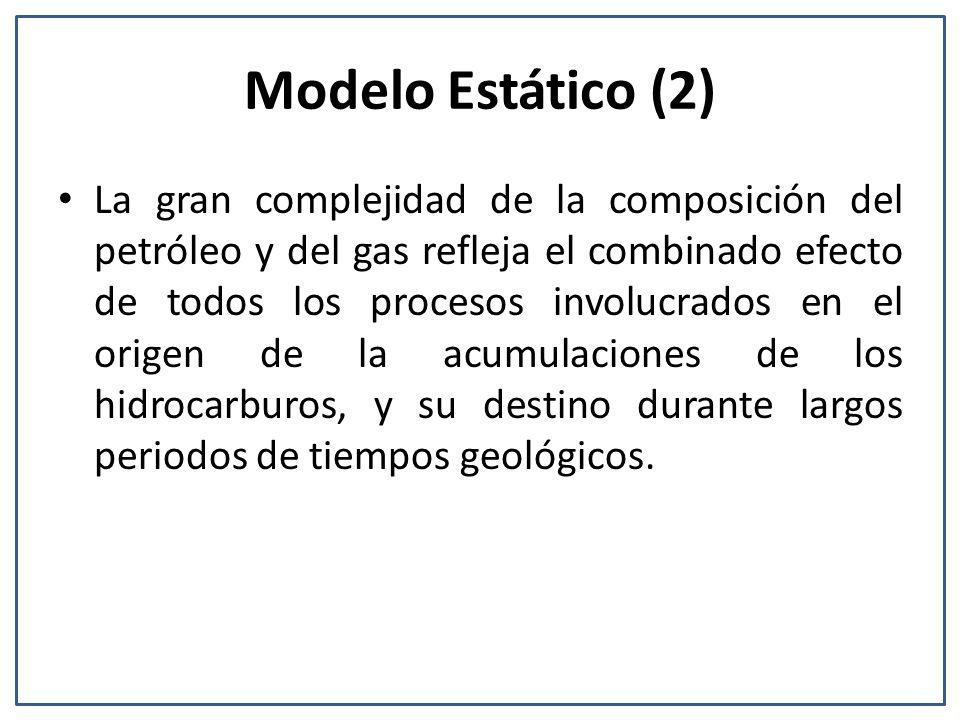 Modelo Estático (2) La gran complejidad de la composición del petróleo y del gas refleja el combinado efecto de todos los procesos involucrados en el origen de la acumulaciones de los hidrocarburos, y su destino durante largos periodos de tiempos geológicos.