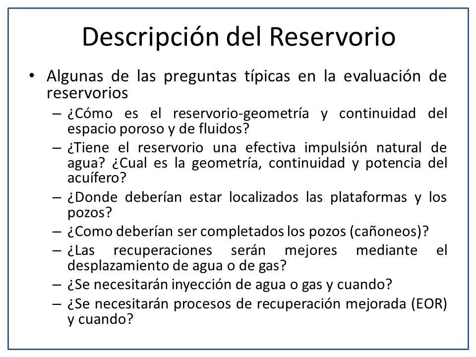 Descripción del Reservorio Algunas de las preguntas típicas en la evaluación de reservorios – ¿Cómo es el reservorio-geometría y continuidad del espac