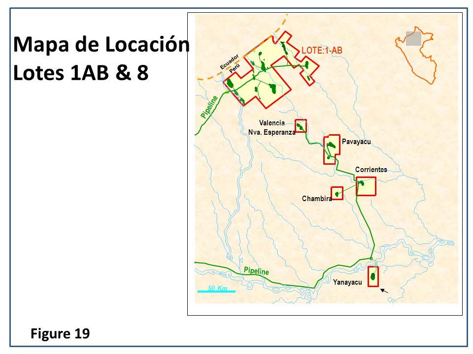 Mapa de Locación Lotes 1AB & 8 LOTE: 8 Yanayacu Corrientes Chambira Pavayacu Valencia Nva. Esperanza Pipeline LOTE:1-AB Pipeline 50 Km Perú Ecuador Fi