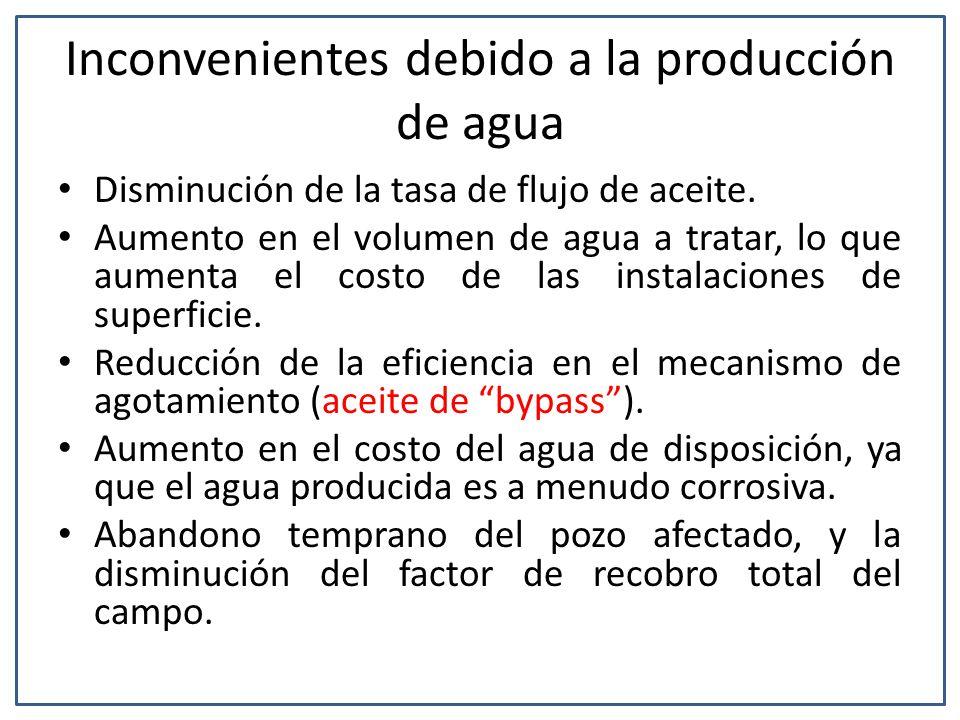 Inconvenientes debido a la producción de agua Disminución de la tasa de flujo de aceite.