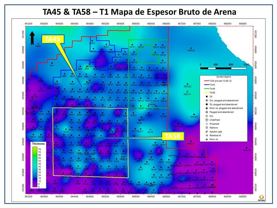 TA45 & TA58 – T1 Mapa de Espesor Bruto de Arena TA45 TA58