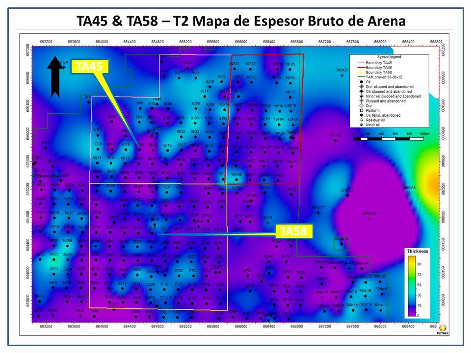 TA45 & TA58 – T2 Mapa de Espesor Bruto de Arena TA45 TA58