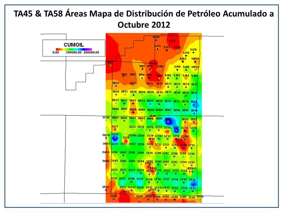 TA45 & TA58 Áreas Mapa de Distribución de Petróleo Acumulado a Octubre 2012