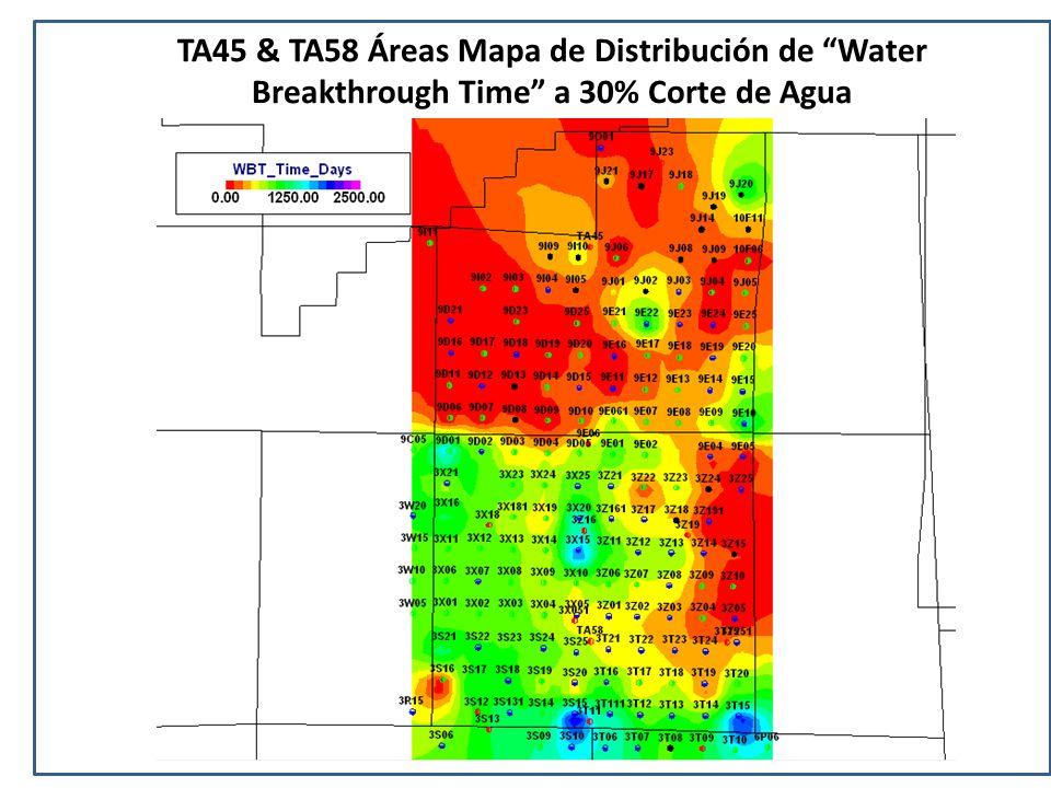 TA45 & TA58 Áreas Mapa de Distribución de Water Breakthrough Time a 30% Corte de Agua