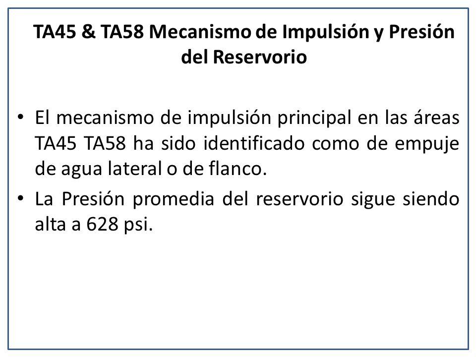 TA45 & TA58 Mecanismo de Impulsión y Presión del Reservorio El mecanismo de impulsión principal en las áreas TA45 TA58 ha sido identificado como de empuje de agua lateral o de flanco.