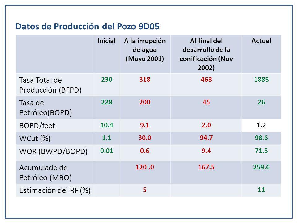 Datos de Producción del Pozo 9D05 InicialA la irrupción de agua (Mayo 2001) Al final del desarrollo de la conificación (Nov 2002) Actual Tasa Total de Producción (BFPD) 2303184681885 Tasa de Petróleo(BOPD) 2282004526 BOPD/feet 10.49.12.01.2 WCut (%) 1.130.094.798.6 WOR (BWPD/BOPD) 0.010.69.471.5 Acumulado de Petróleo (MBO) 120.0167.5259.6 Estimación del RF (%) 511