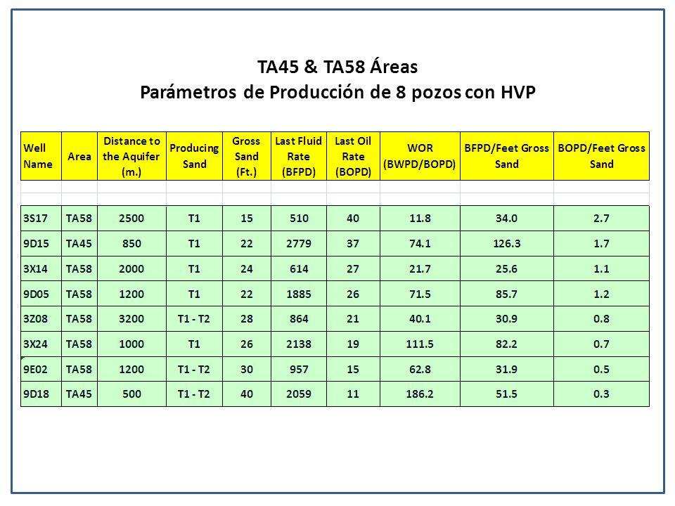 TA45 & TA58 Áreas Parámetros de Producción de 8 pozos con HVP