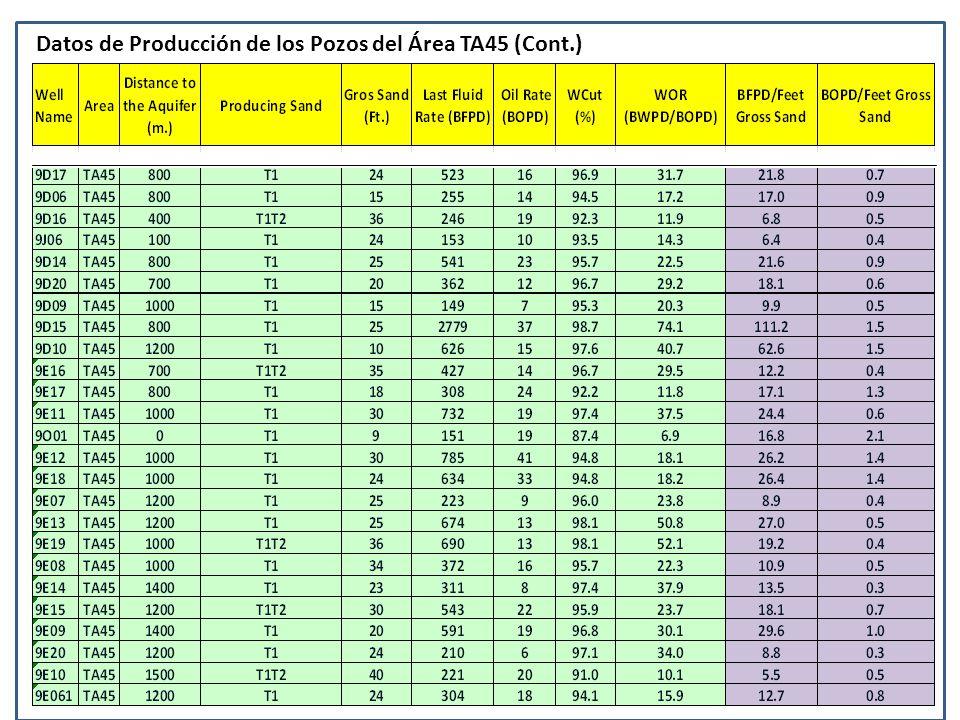 Datos de Producción de los Pozos del Área TA45 (Cont.)