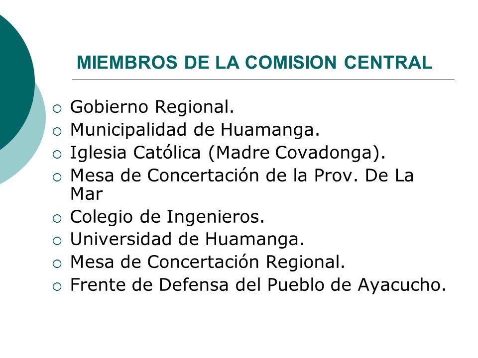 MIEMBROS DE LA COMISION CENTRAL Gobierno Regional. Municipalidad de Huamanga. Iglesia Católica (Madre Covadonga). Mesa de Concertación de la Prov. De