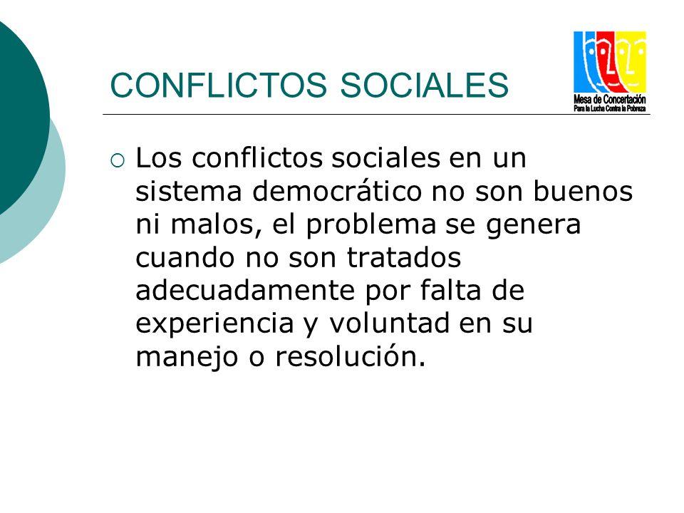 CONFLICTOS SOCIALES Los conflictos sociales en un sistema democrático no son buenos ni malos, el problema se genera cuando no son tratados adecuadamen