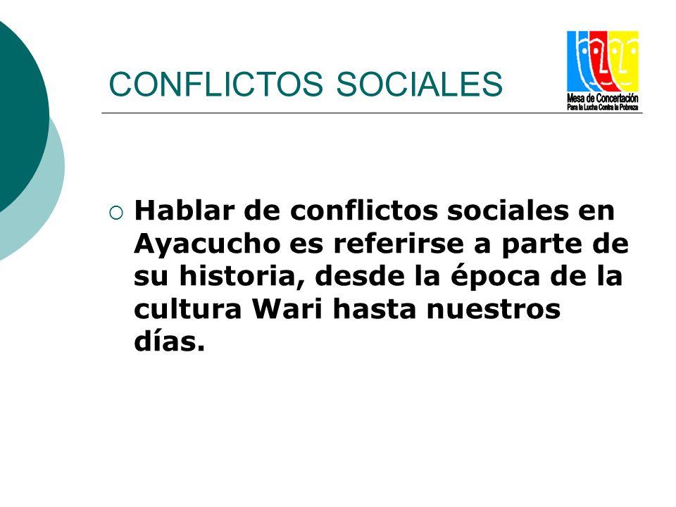 CONFLICTOS SOCIALES Hablar de conflictos sociales en Ayacucho es referirse a parte de su historia, desde la época de la cultura Wari hasta nuestros dí