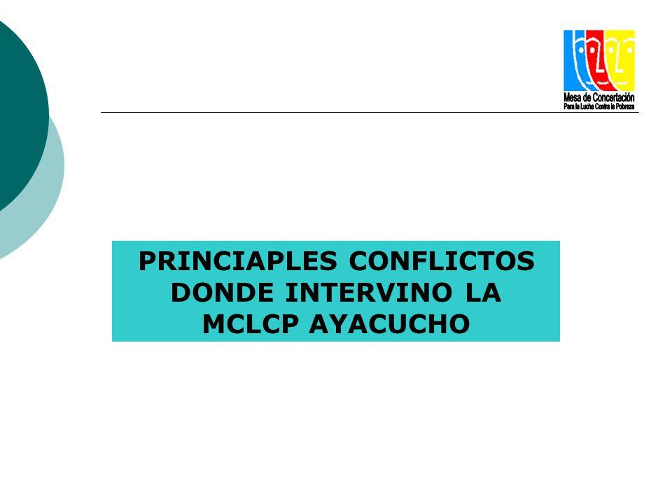 PRINCIAPLES CONFLICTOS DONDE INTERVINO LA MCLCP AYACUCHO