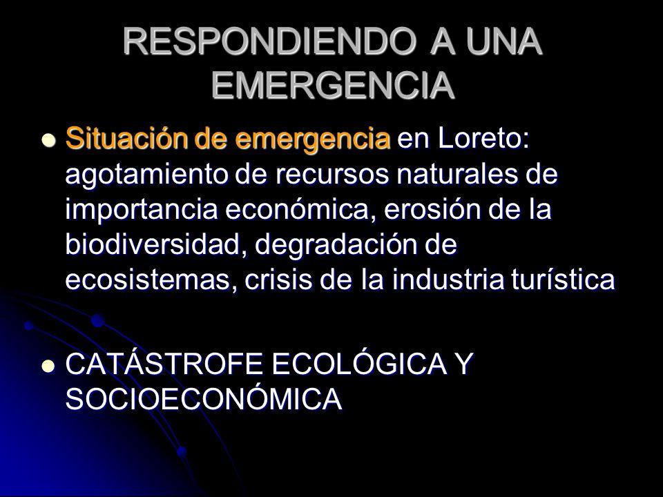 RESPONDIENDO A UNA EMERGENCIA Situación de emergencia en Loreto: agotamiento de recursos naturales de importancia económica, erosión de la biodiversid