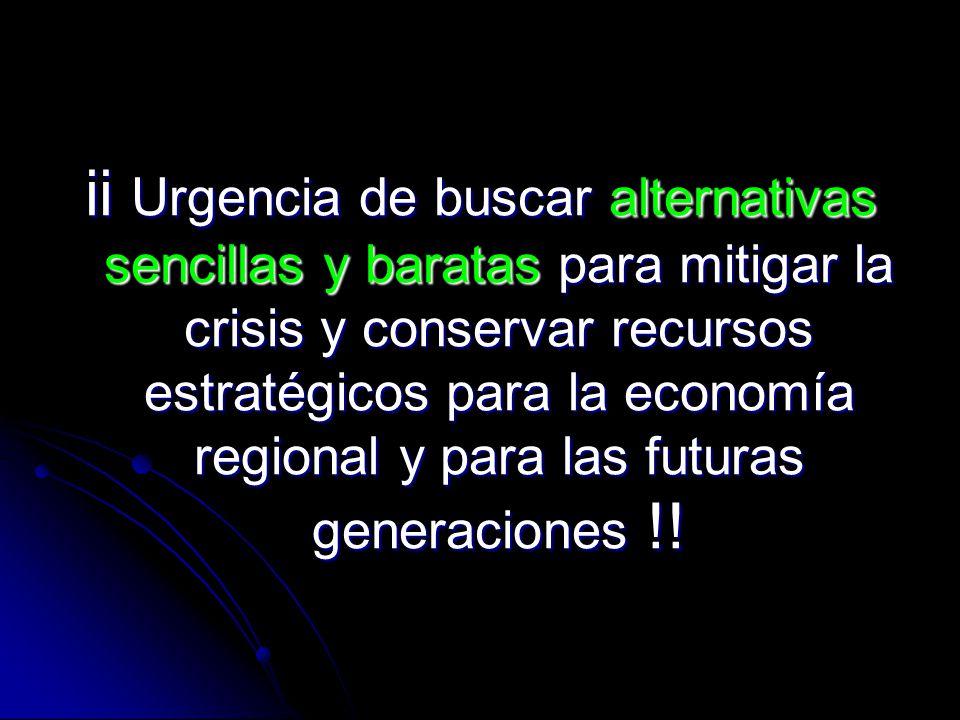 ii Urgencia de buscar alternativas sencillas y baratas para mitigar la crisis y conservar recursos estratégicos para la economía regional y para las f