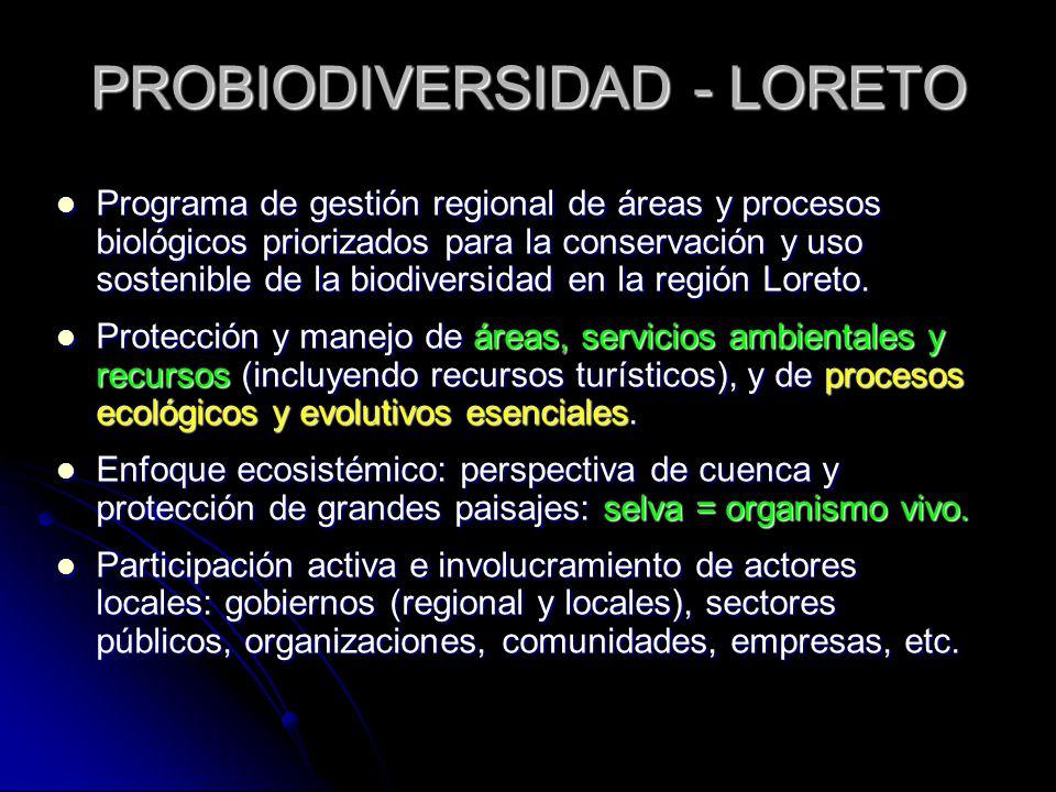 PROBIODIVERSIDAD - LORETO Programa de gestión regional de áreas y procesos biológicos priorizados para la conservación y uso sostenible de la biodiver