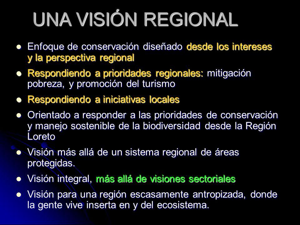UNA VISIÓN REGIONAL Enfoque de conservación diseñado desde los intereses y la perspectiva regional Enfoque de conservación diseñado desde los interese