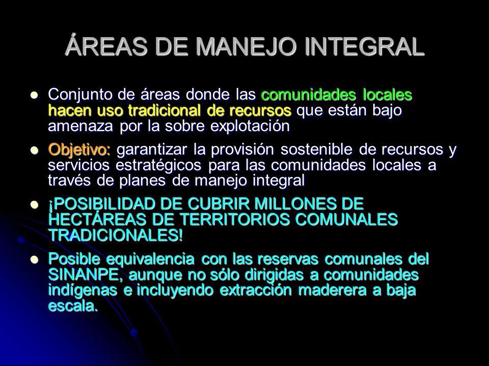 ÁREAS DE MANEJO INTEGRAL Conjunto de áreas donde las comunidades locales hacen uso tradicional de recursos que están bajo amenaza por la sobre explota