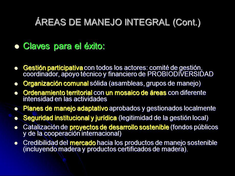 ÁREAS DE MANEJO INTEGRAL (Cont.) Claves para el éxito: Claves para el éxito: Gestión participativa con todos los actores: comité de gestión, coordinad