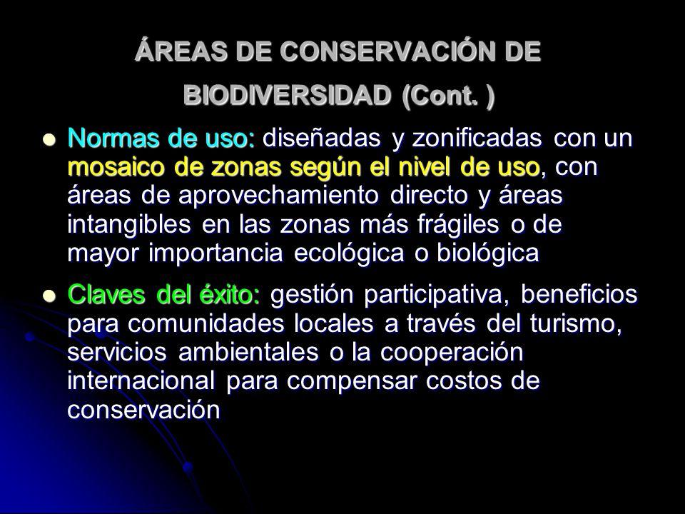 ÁREAS DE CONSERVACIÓN DE BIODIVERSIDAD (Cont. ) Normas de uso: diseñadas y zonificadas con un mosaico de zonas según el nivel de uso, con áreas de apr