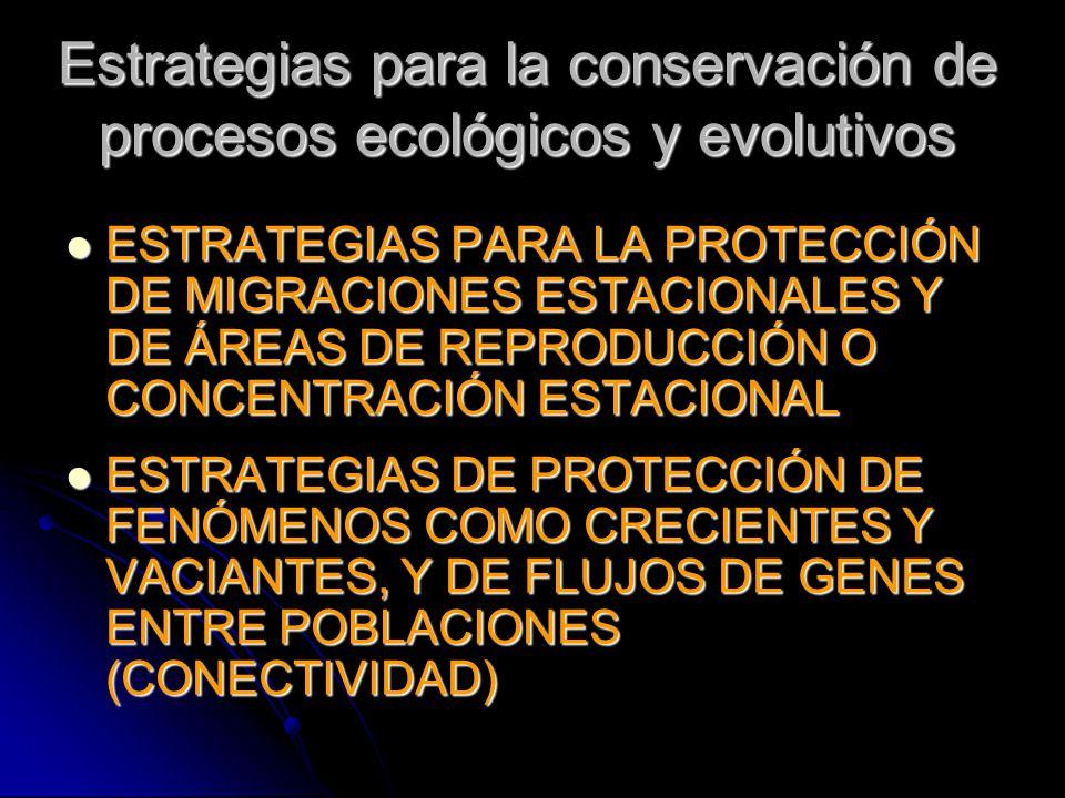 Estrategias para la conservación de procesos ecológicos y evolutivos ESTRATEGIAS PARA LA PROTECCIÓN DE MIGRACIONES ESTACIONALES Y DE ÁREAS DE REPRODUC
